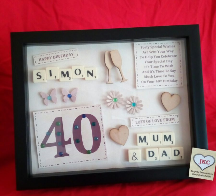 Personalised birthday keepsake frame picture gift with age