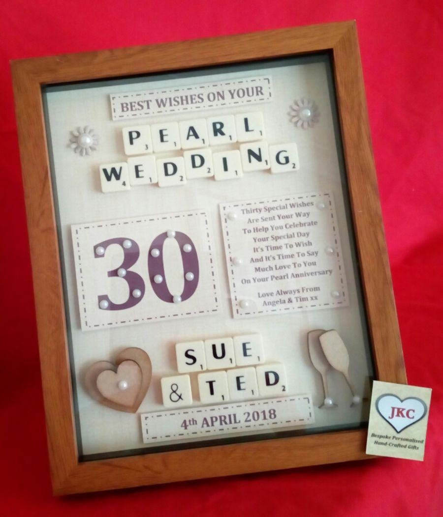 Personalised 30th Pearl Wedding Anniversary Gift