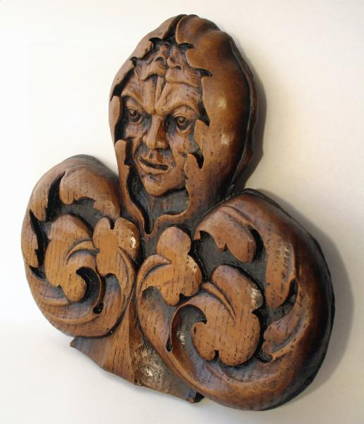 Green Man Medieval Misericord Wall Plaque - St Chads
