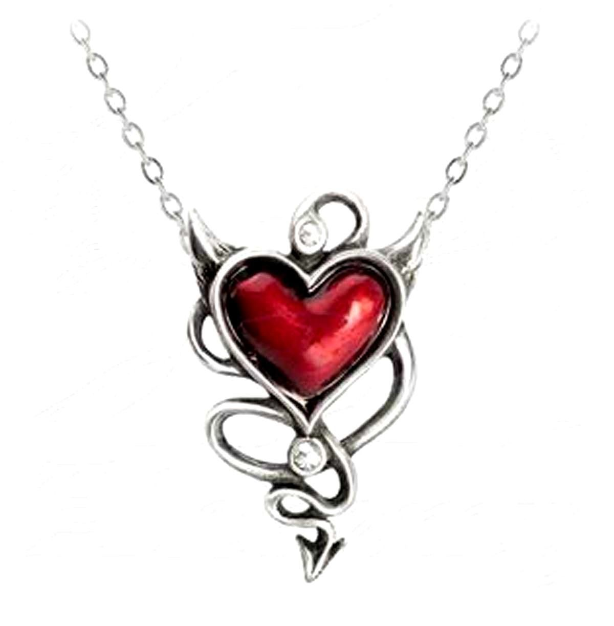 Alchemy UL17 Devil Heart Pendant Necklace Pewter Red Enamel Crystal