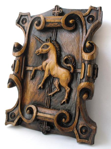 Unicorn Carving Wall Plaque Taken From Cartmel Priory