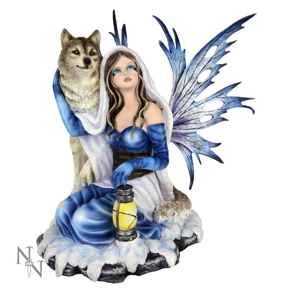 NEMESIS NOW ARCTIC CHAPERONE FAIRY WITH WOLF 30CM