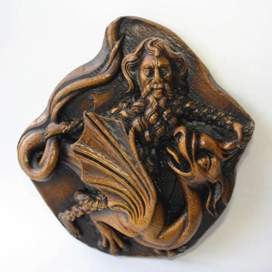 Celtic Dragon & Hermit Duel:  Medieval Misericord Church Carving