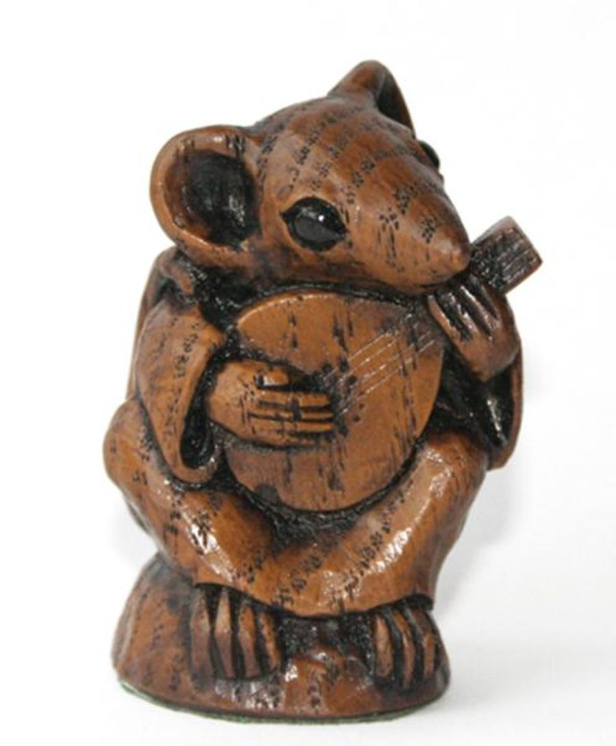 Church Mouse Ornament:  Musician playing the Mandolin