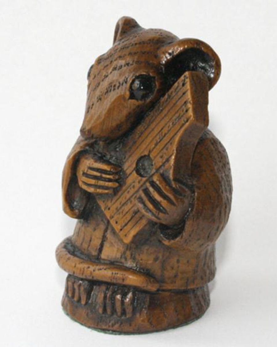 Church Mouse Ornament Musician playing the Psaltery