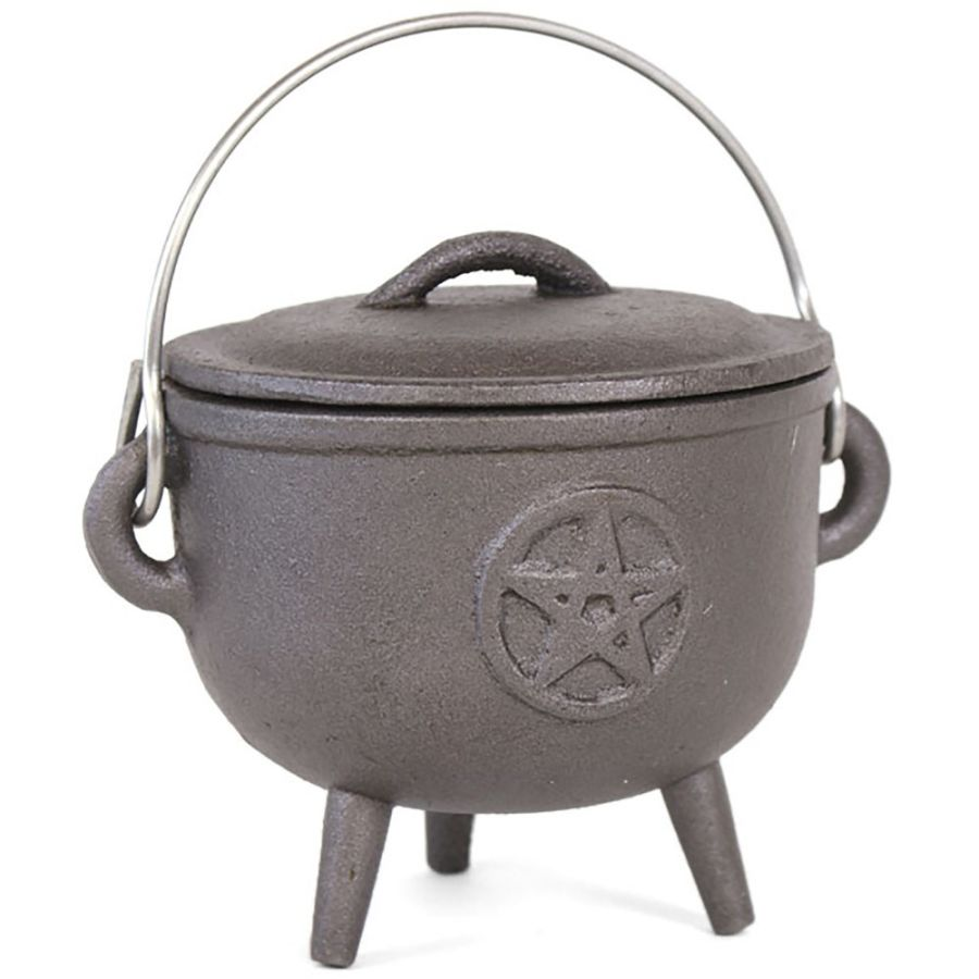 Cast Iron Cauldron with Pentagram Design 12cm