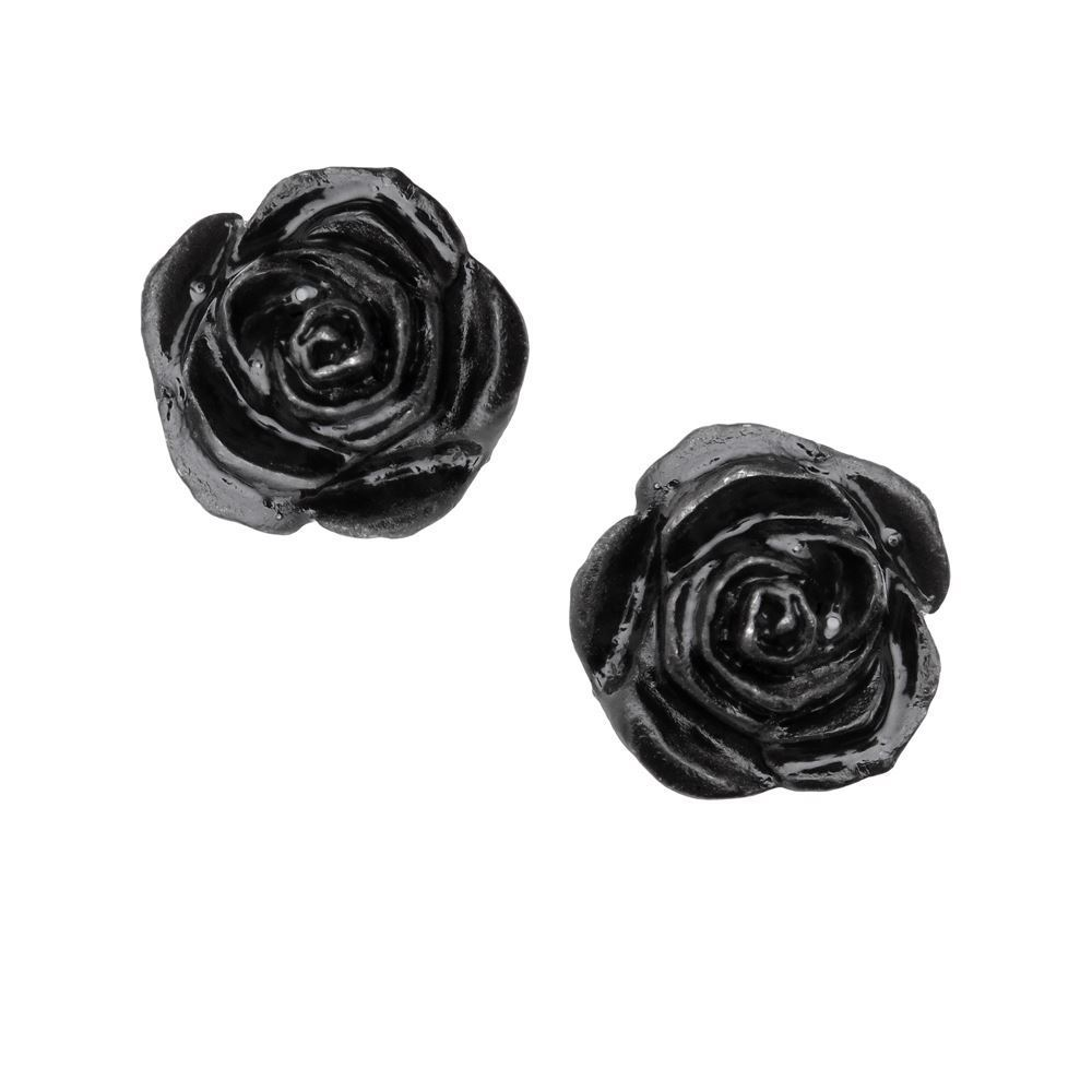 Alchemy Gothic Romance of the Black Rose Stud Earrings