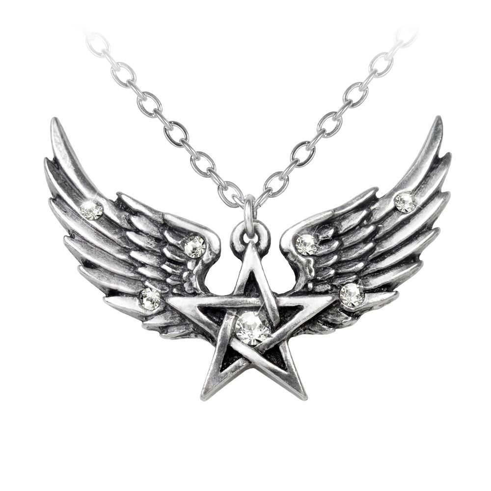 Alchemy Gothic O Fortuna Angel Wing Pentagram Necklace Pendant