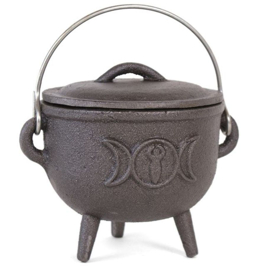Cast Iron Cauldron with Triple Moon Design 12cm