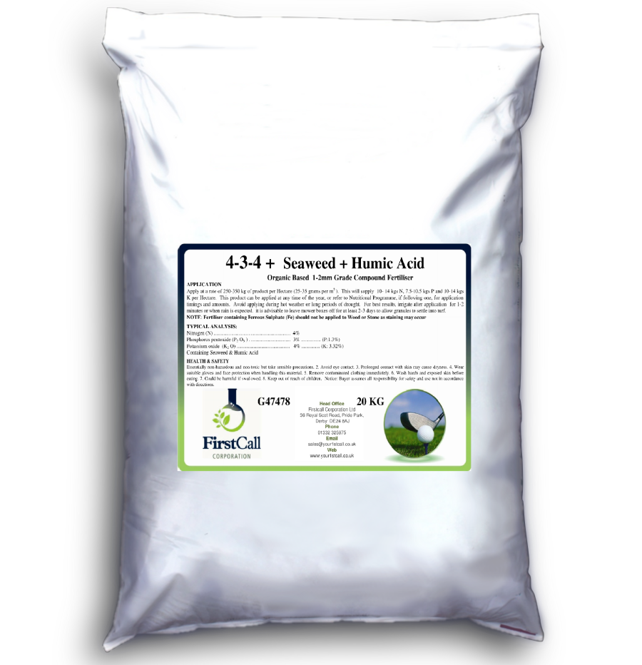 4-3-4 + Seaweed + Humic Acid Organic Based 1-2mm 20kg