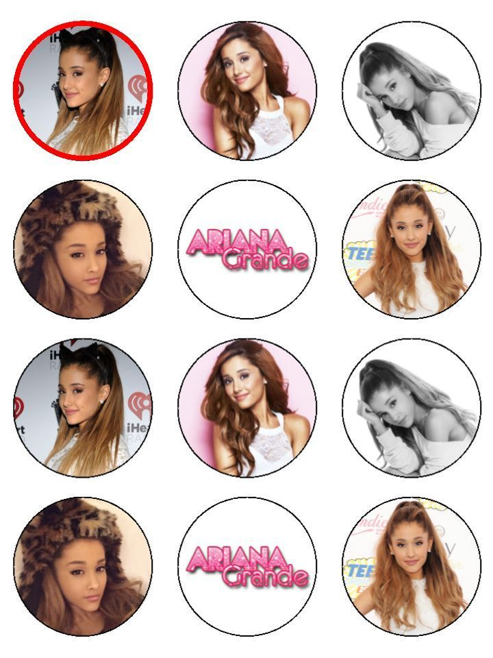 Ariana Grande Cupcake Toppers X 12