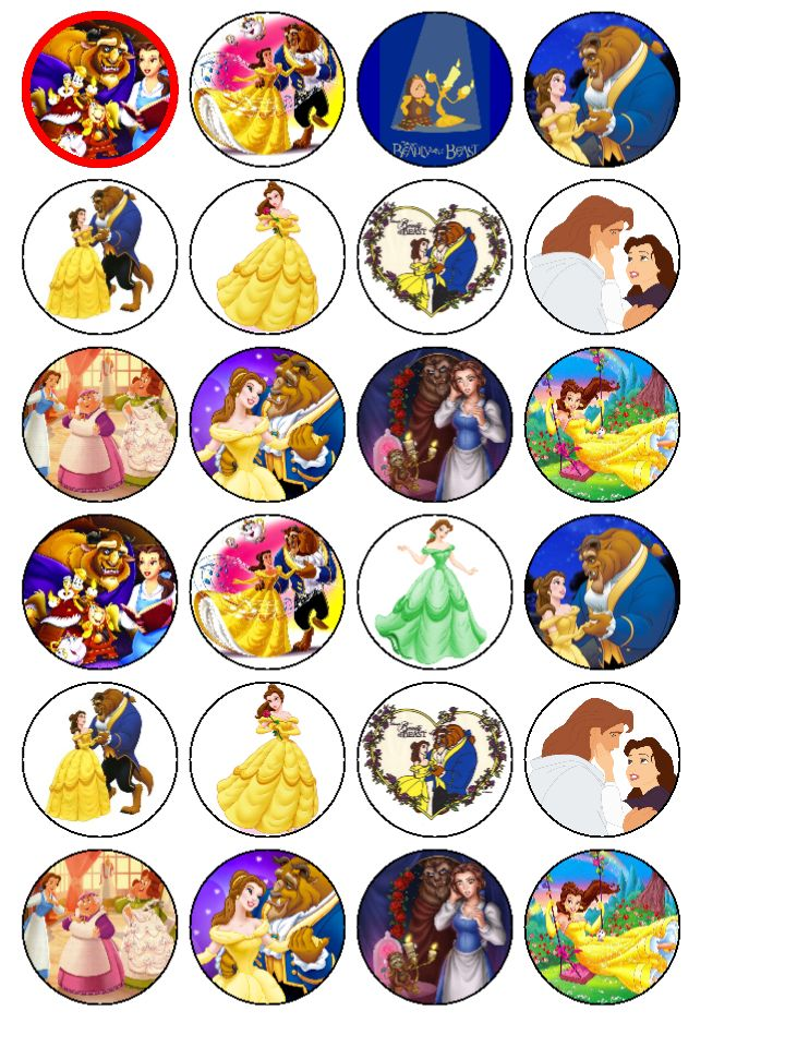 24 x beauty and the beast edible cup cake toppers