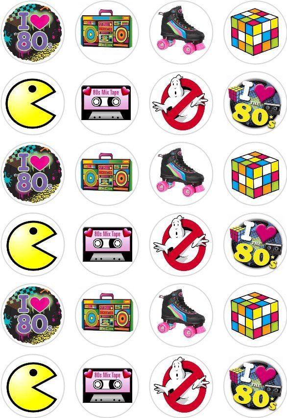 80's style cupcake toppers x 12