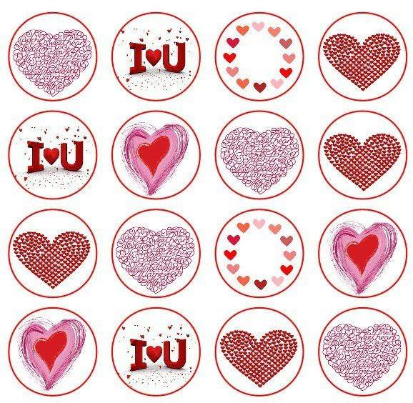 I Love U x 16 cupcake toppers