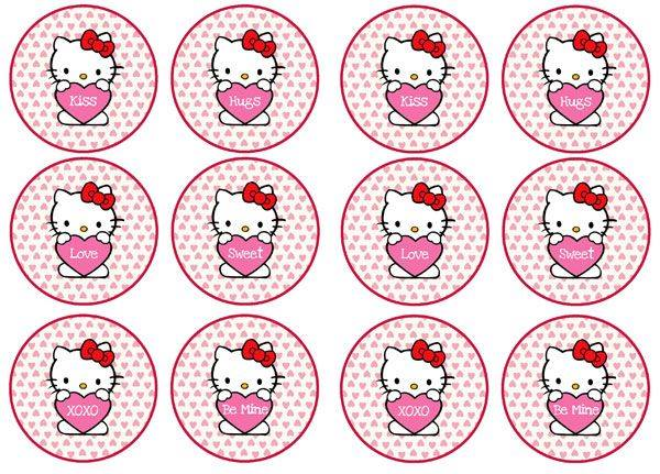 Hello Kitty x 12 cupcake toppers