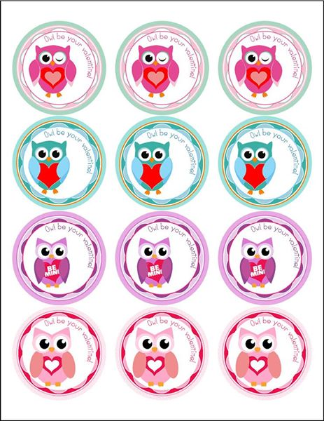 Owl be your valentine x 12 cupcake toppers