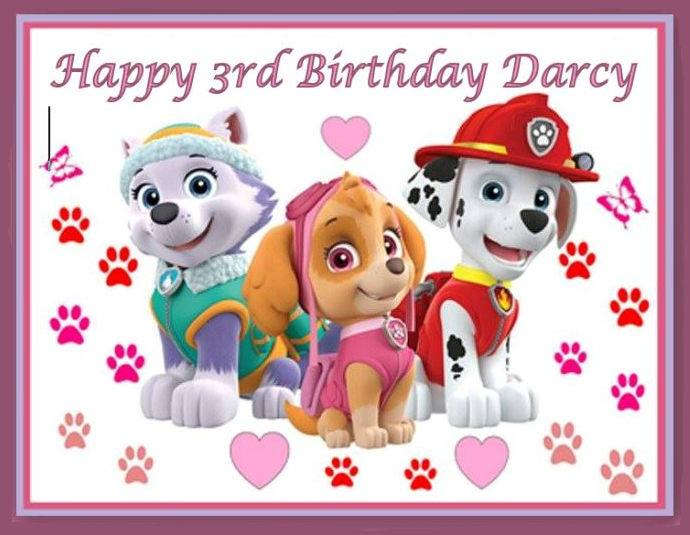 Paw Patrol Cake topper icing or wafer sheet