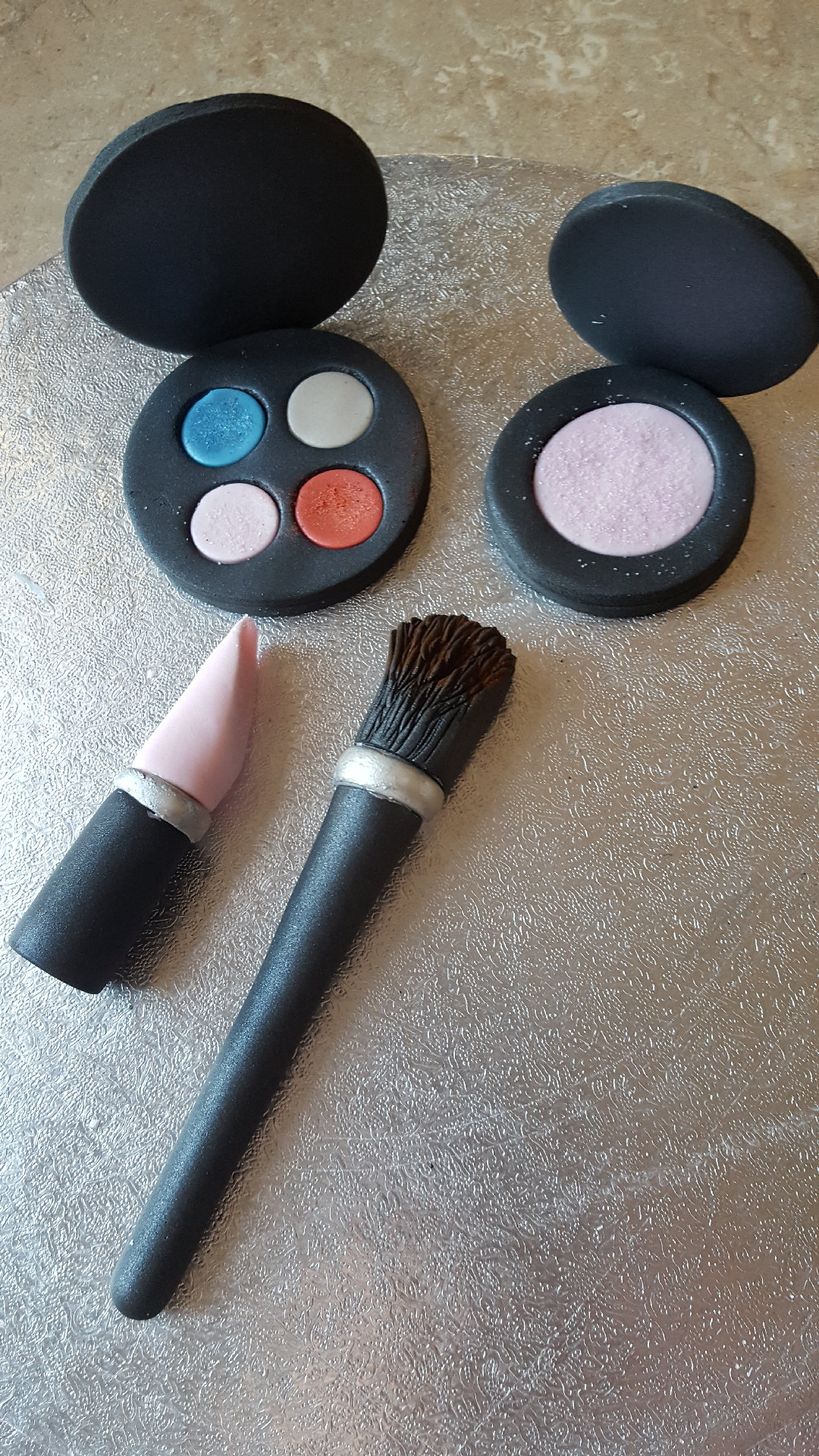 fondant Makeup brush, pallet, lipstick, & blusher, or full set
