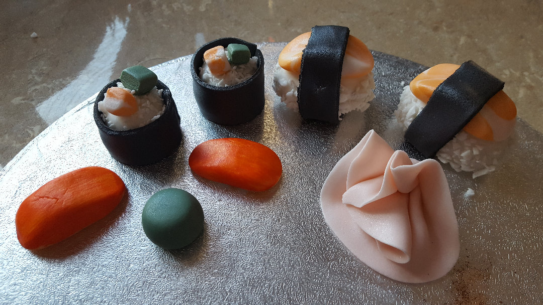 Sushi cake or cupcake toppers hand made