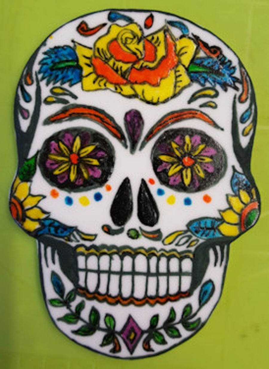 Day of the dead skull cake topper hand painted