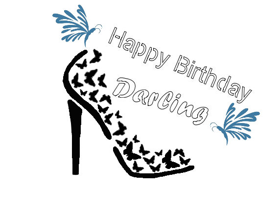 Happy birthday darling, shoe birthday stencil