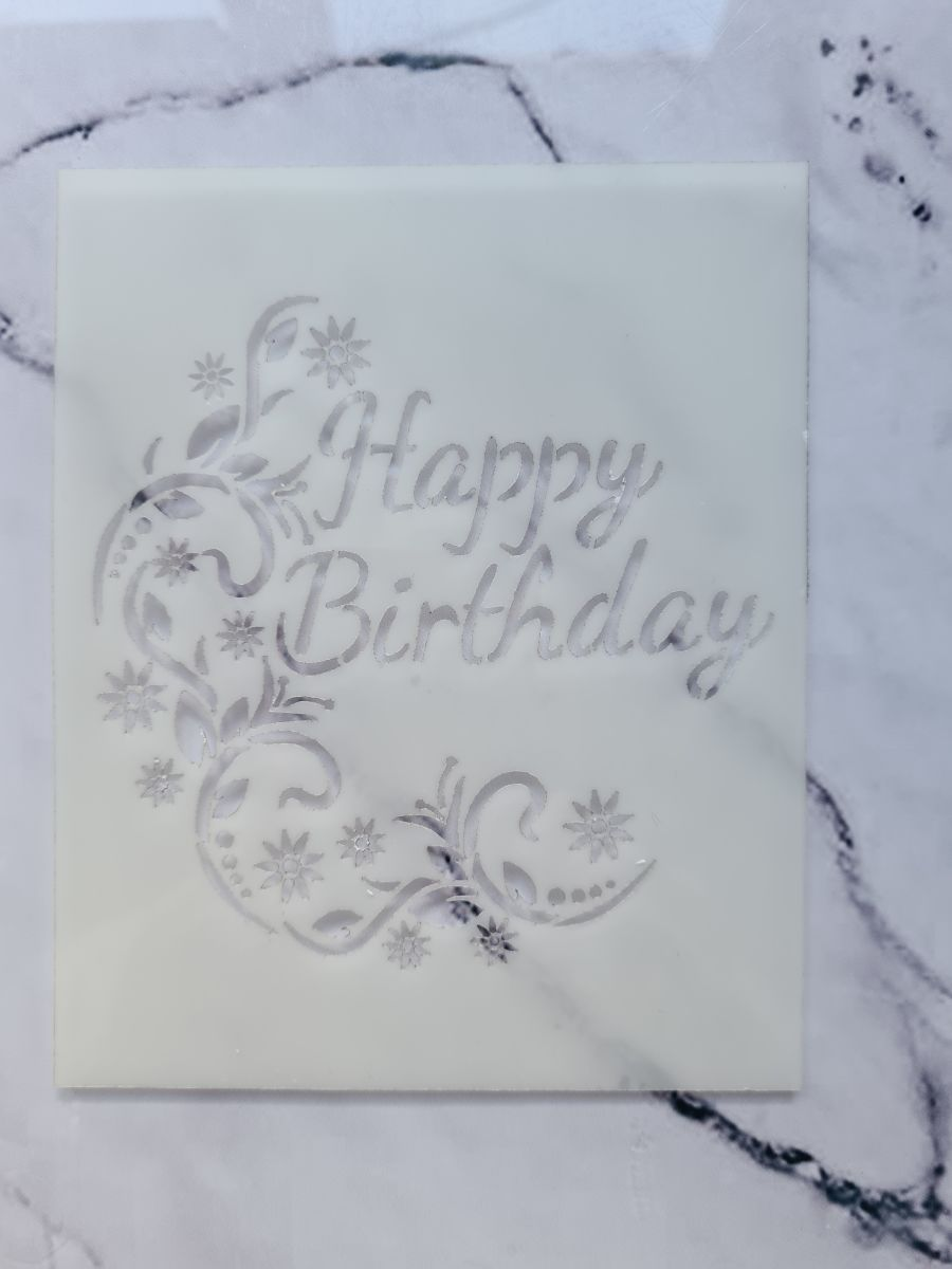 Happy birthday fancy stencil
