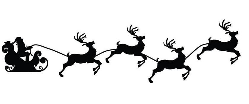 Santa & reindeer's sled stencil