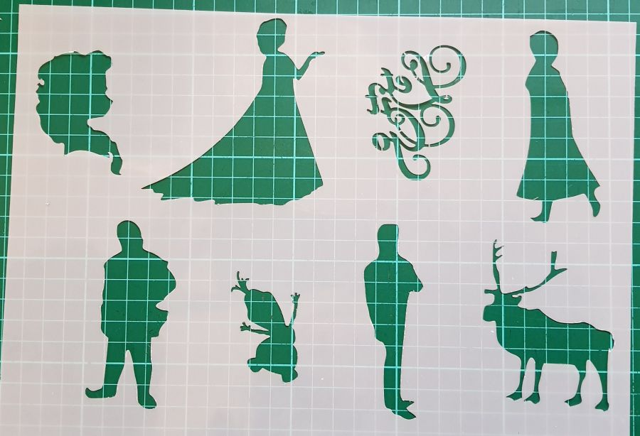 Frozen let it go and characters stencils