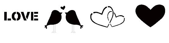 Love Valentines day birds stencil