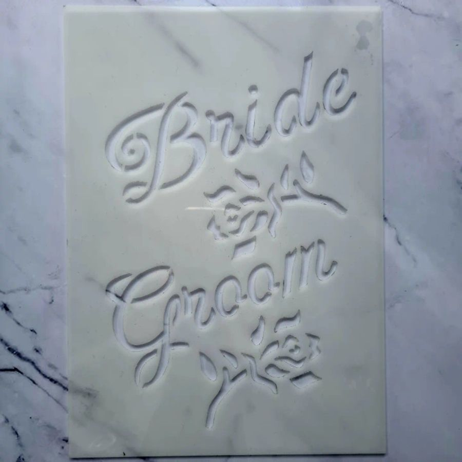 Bride & Groom roses stencil