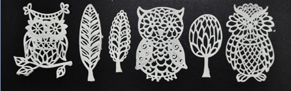 Owls & Leafs Ready Made with cake lace
