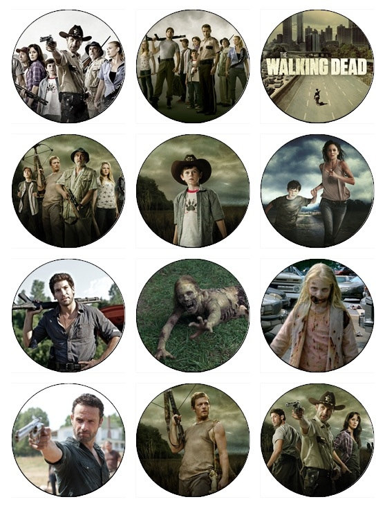 The walking dead cupcake toppers x 12