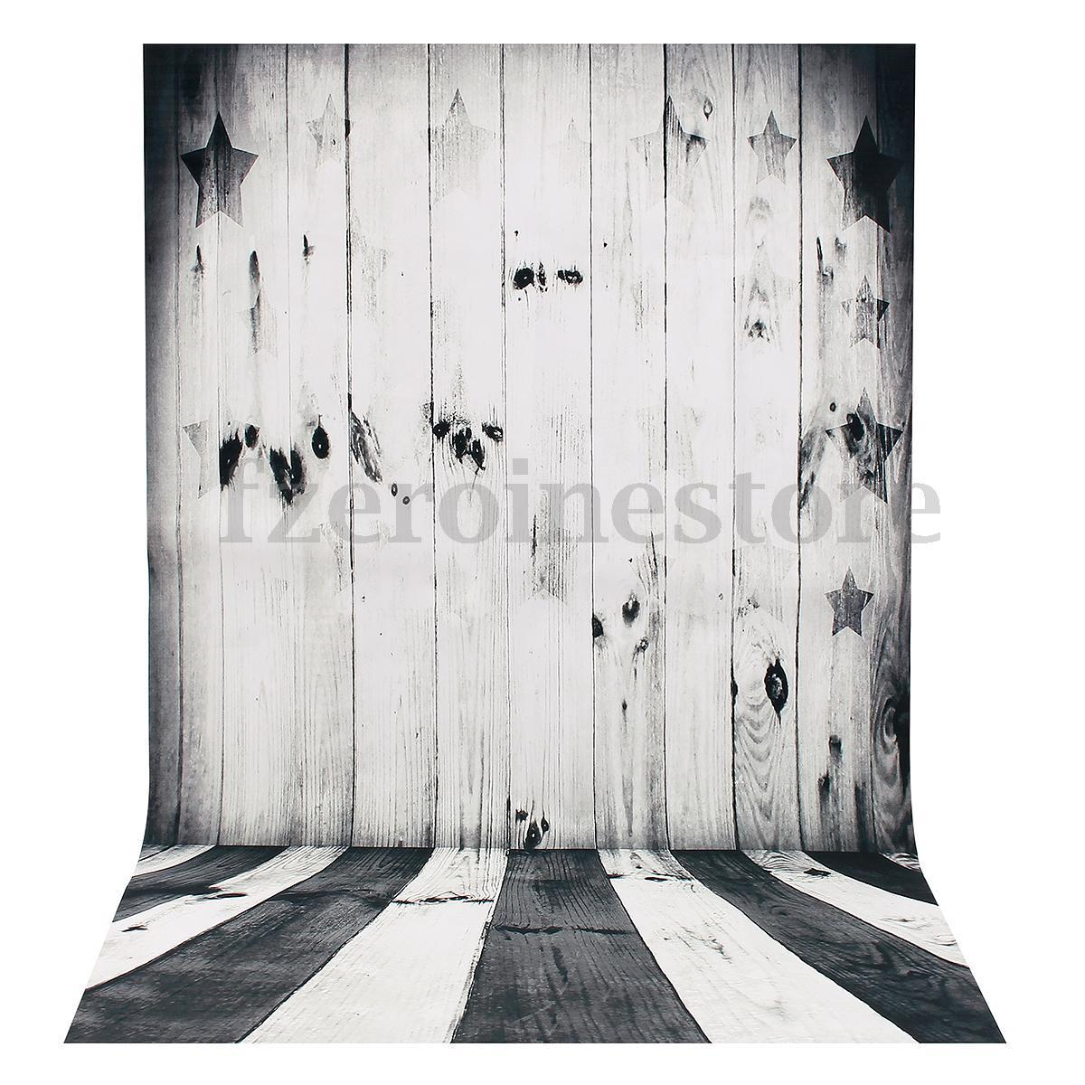 Retro Black White Wood Backdrop