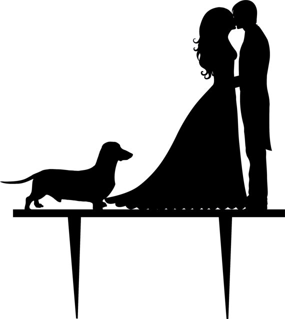 Mr & Mrs with dog cake card topper