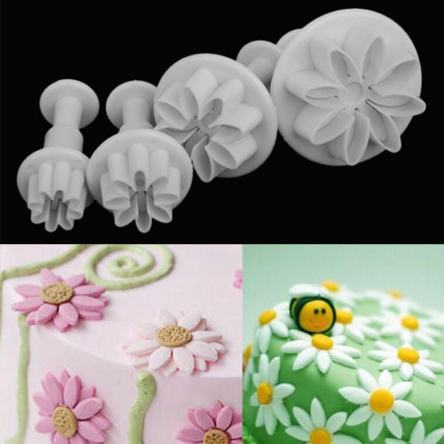 4x Daisy Flower Cutter cake decorating