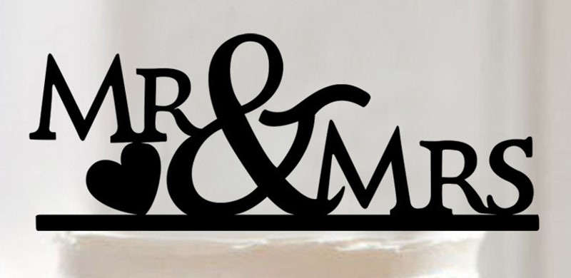 Mr & Mrs sign cake card topper