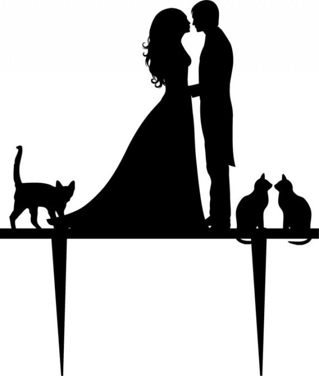 Mr & Mrs with cats cake card topper