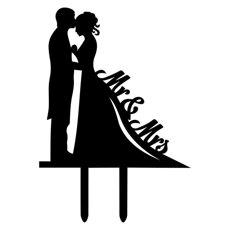 Mr & Mrs dress cake card topper