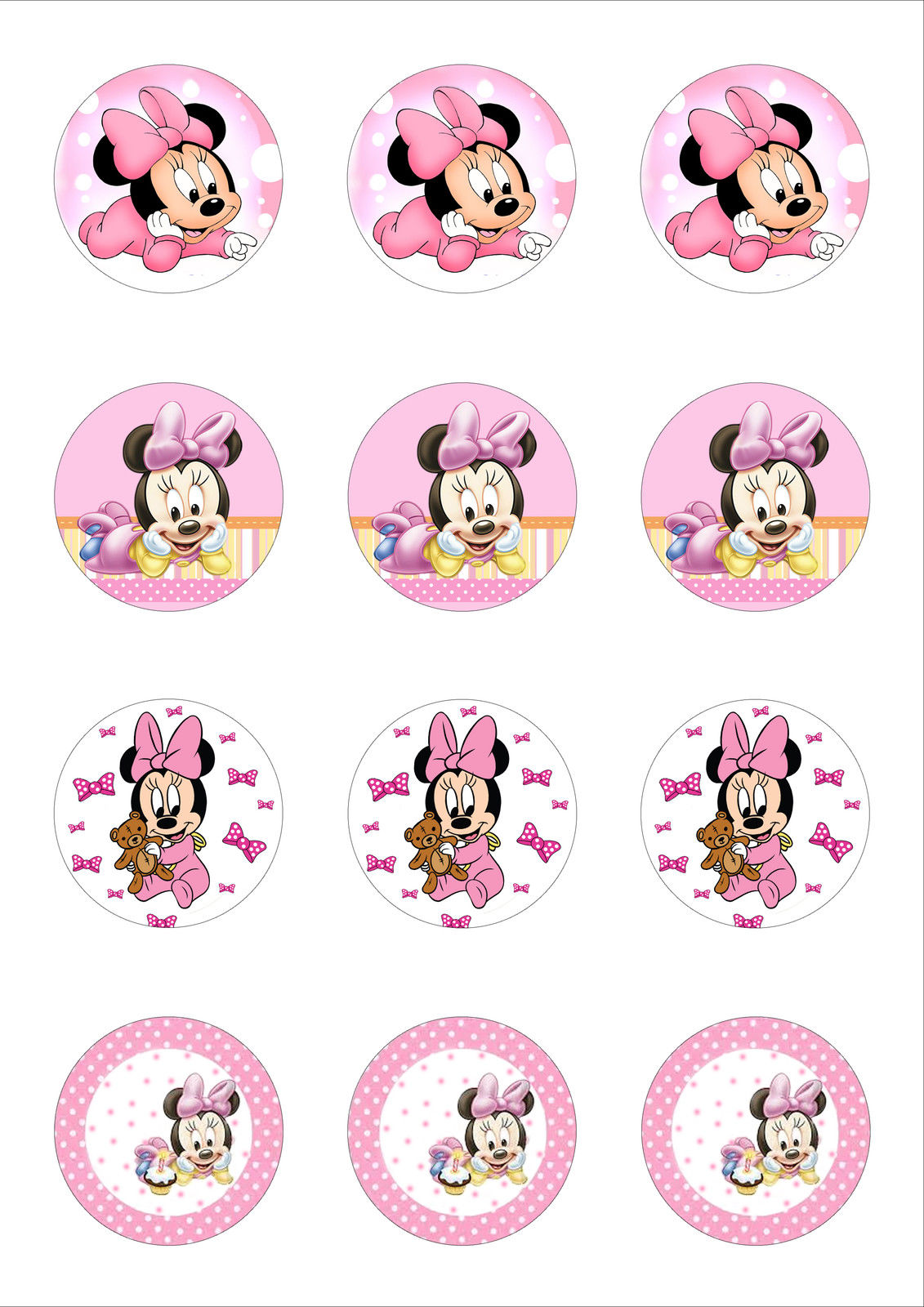 Baby Minnie Mouse Cupcake Toppers X 12