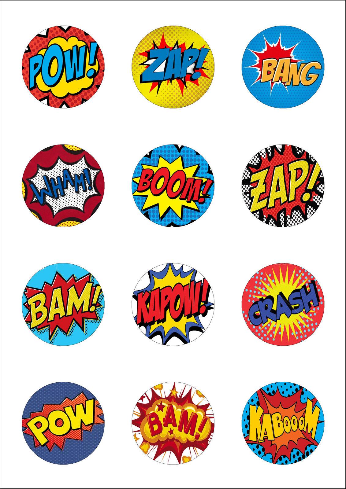 12 Large Superhero Retro Pow Zap Comic Edible Cupcake Toppers