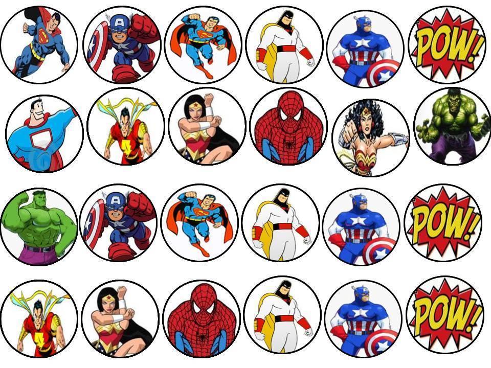 24 X super heros edible cupcake toppers