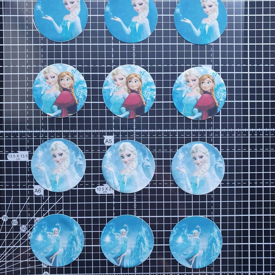 12 Frozen Elsa Themed Circle Cupcake Toppers