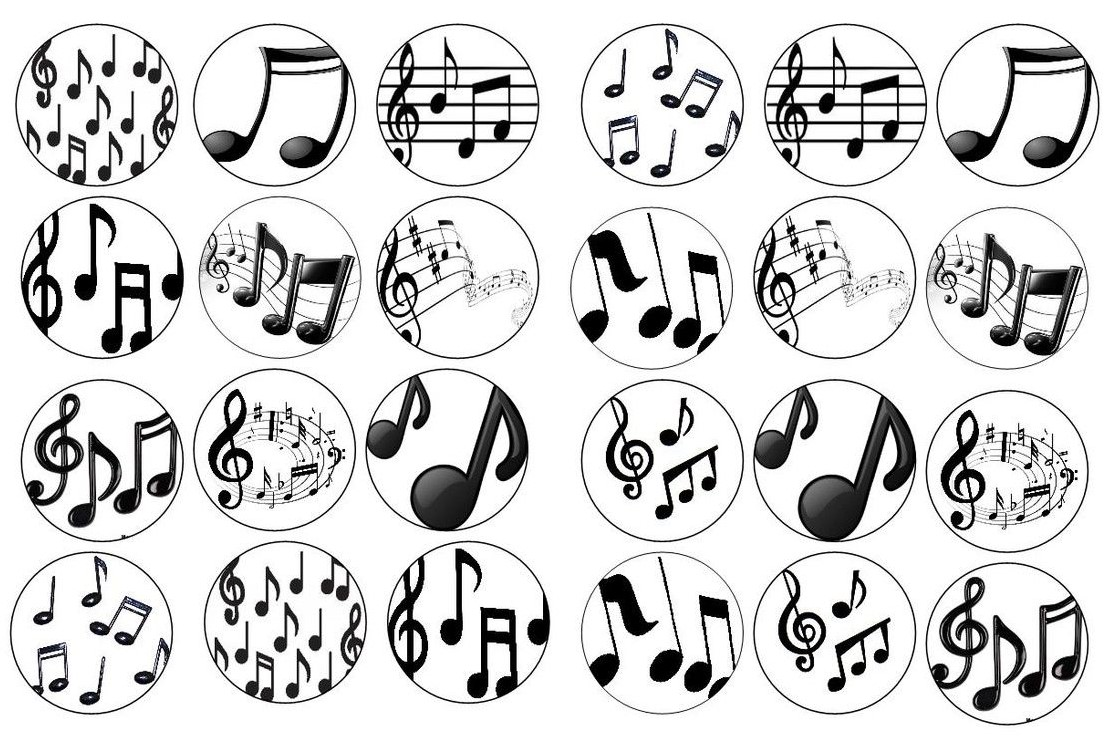 12 Musical cupcake toppers