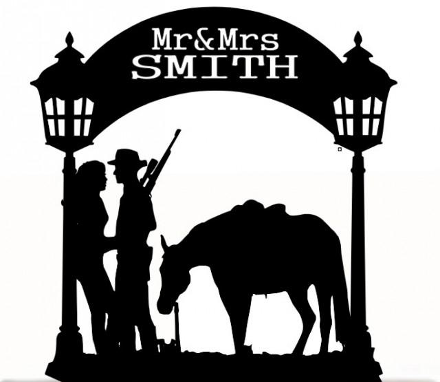 Horse mr & mrs cake card topper