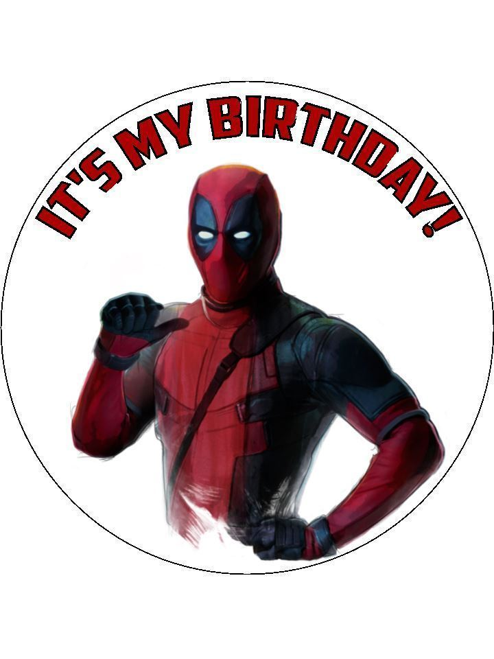 Dead pool cake topper round