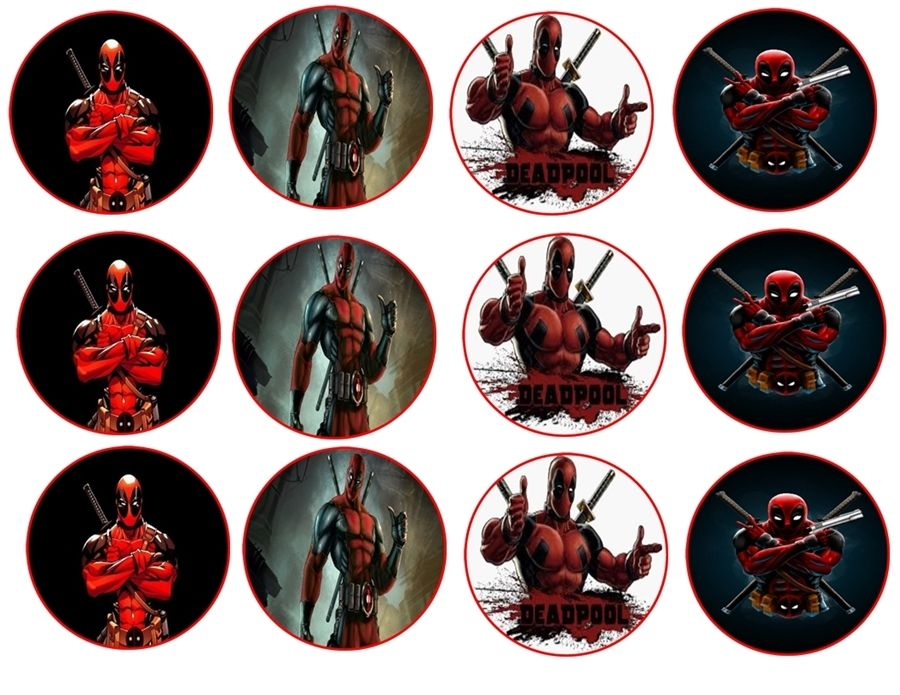 Dead pool cupcake toppers x 12