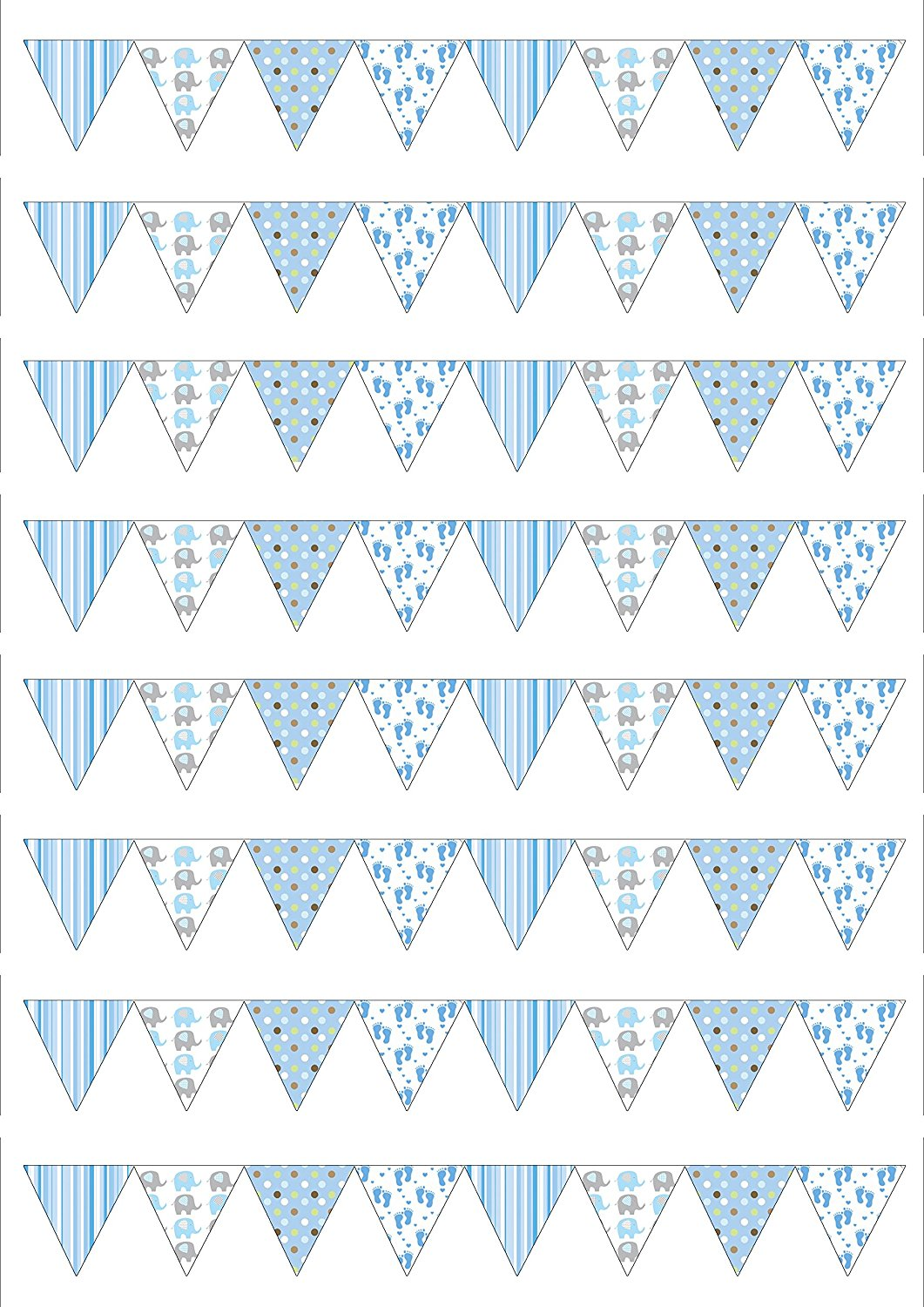 64 Baby Shower BOY SMALL Bunting flags