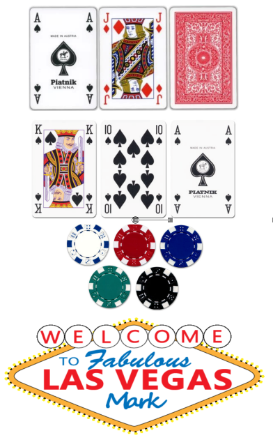 Poker sheet playing cards, poker chips, las vegas sign Sugar Icing Sheet
