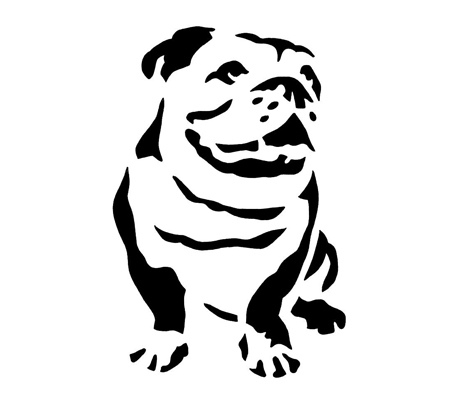 Bull dog bulldog stencil cake decorating