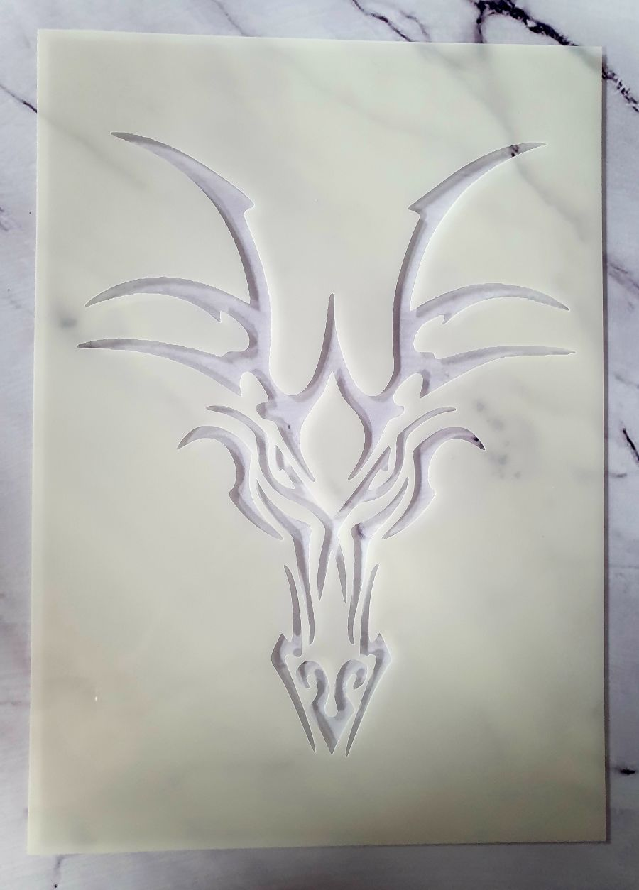 Dragon Head stencil cake decorating